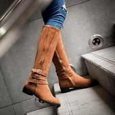Women Faux Suede Wide Calf High Knee Length Riding Boot Buckle Side Zip Low Heel