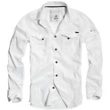 Brandit 4005 Herren Langarm Hemd Slim Fit Shirt Polo Shirt Freizeithemd Old Weiß
