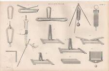 1868 PRINT PHYSICS ~ MAGNETISM APPARATUS ETC