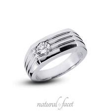 Certified Diamond Platinum Classic Men's Ring 1.05 Carat G Si1 Round Cut Natural