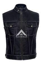 Nuevo Para Hombre Abrigo De Cintura 1635 Negro Napa de cuero real de puntadas Blanco Suave Chaleco