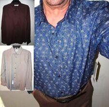 NEW CALVIN KLEIN MENS DRESS SHIRT 16 L 2XL BLUE White RED