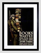 Guerra WWI carità LIBRO SOLDATO FUCILE PISTOLA libreria FRAMED ART PRINT MOUNT b12x5947