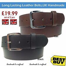 "1.5"" Wide Handmade Set (2 PCS) Belt Long Lasting Leather Mens Womens Jeans Wear"