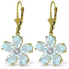 Genuine Aquamarine Gemstones & Diamond Flower Leverback Earrings 14K. Solid Gold