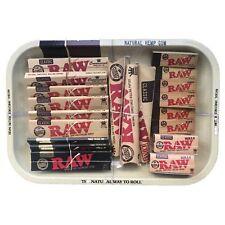 Raw Small Medium Rolling Tray Kit Gift Set Classic Organic Hemp ,tips UK STOCK