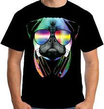 Velocitee Mens T Shirt DJ Pug Dog Colourful Neon Festival Music Clubbing A19704