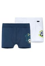 Schiesser Boys Hip Shorts Pack of 2 Football Size 104-128 100% Co Underwear