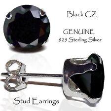 Men's or Lady's Black Stud Earrings , Genuine Sterling Silver