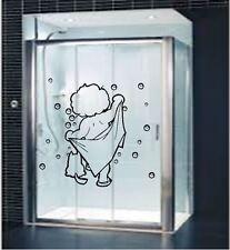 Cute Baby Girl/Boy with towel bathroom Shower Screen Vinyl Wall Decal Sticker