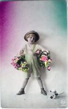 1910 Bambini bambino bimbo child fiori foto Rotos 5282