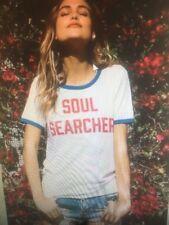 NEW Spiritual Gangster Women's Soul Searcher Ringer Tee White/ Pool Sz xs s m l