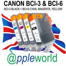 1 Set [ 4 Tintas ] Canon Cartuchos De Tinta Compatible Con Bci-3bk + Bci-6 C, m, y