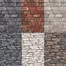 Fine Decor/Debona Rustic Brick & Slate Effect Pannel Wallpaper 10m 14 Colours