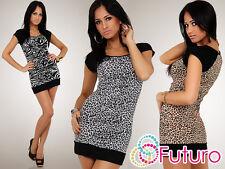 Sexy Mini Dress Animal Pattern Bodycon Tunic Style Square Neck Size 8-12 8024