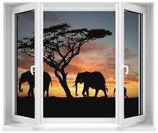 Sticker fenêtre trompe l'oeil Safari réf 182