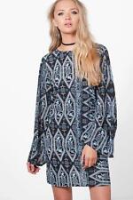 BOOHOO ALICE BLUE PAISLEY PRINT LOW BACK FLUTE SLEEVES SHIFT MINI DRESS UK 8 NEW