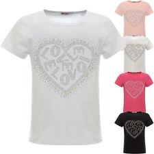 schöne Glitzer T-Shirt Mädchen Kunst-Perlen Sommer Bluse Shirts Stretch 22540