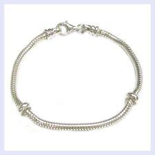 "Sterling Silver 3mm CAPRICE Snake BRACELET for European Bead Charm  7"" to 8.5"""