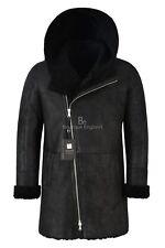 Men's Hooded Flying Sheepskin Shearling Fur Coat Vintage Black B3 Genuine A-0