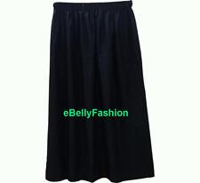 Black Cotton Women Pleated Retro Long Maxi Dress Elastic Waist Skirt jupe