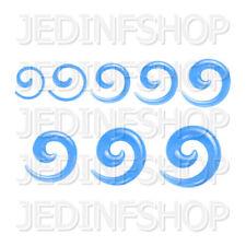 Ear Taper Lobe Stretcher - Spiral Snail | 1.6mm-10mm | Light Blue Solid Acrylic