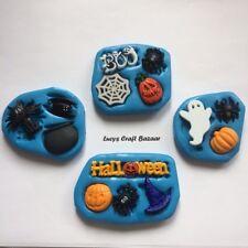 Molde de Silicona Halloween Esqueleto Fantasma Murciélago Araña Gato Caldero Cupcake Topper