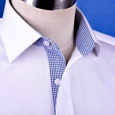 White Twill Men's Formal Business Dress Shirt  Single Cuff Spread Collar Style