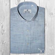 Chemise Homme Casual Basic 100%Coton Motif micro Bleu Manches Longues Slim Fit
