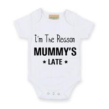 I'm The Reason Mummy's Late White Short Sleeve Baby Grow New Baby Nursery Funny