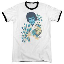 Elvis Presley Peacock Mens Adult Heather Ringer Shirt White/Black