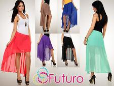 Lovely Flippy Asymmetrical Skirt Lining Chiffon Holiday Beach Size 8-12 FA16