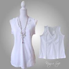 Top / Shirt / Tunika / Bluse - Ärmellos - Rüschen - 100% Cotton Gr.44  weiß