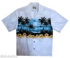 KY´S Original Chemise Hawaïenne,Hawaiihemd. Île Pression thoracique,Blanc,S-6XL
