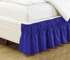 "Fancy Linen Elastic Bed Ruffles Bed-Skirt 14"" Drop Solid Royal Blue AllSizes New"
