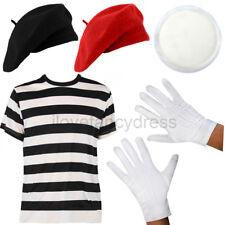 Français mime costume robe fantaisie femme beret chapeau gants visage et peinture