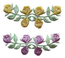 #3597 Lot 2Pcs Purple/Yellow Rose Vine Flower Embroidery Iron On Applique Patch