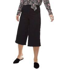 k/lab Juniors' Side-Button Denim Culottes Black