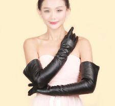 Hot Sale Women Winter Long Sheep Leather Elbow Opera Evening Silk Lining Gloves