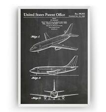 Boeing 737 1966 Patent Print Poster Pilot Aviation Art airplane Gift - Unframed