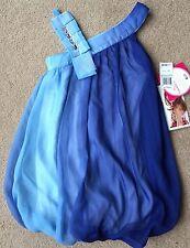 NWT girls size 8 12 & 14 Sweet Heart Rose Ombre Blue Sheer Bubble Hem Dress CUTE
