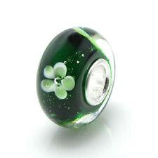 Sterling Silver Round Green Clover Flower Glass Bead For European Charm Bracelet