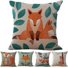18'' Cartoon Fox Pattern Linen Cushion Case Throw Pillow Cover Home Decor Finest