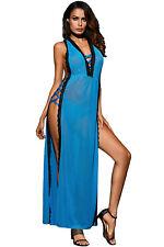 Sexy Blue Black Long Gown Nightie Dress Lingerie Strappy Nightwear Sleepwear
