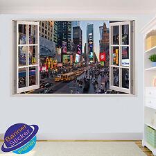 NEW York TIME SQUARE PAESAGGIO 3d Window Wall Sticker murale Room Decor Decal yu9