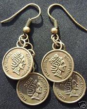 Antiqued BRASS Queen Elizabeth II  COIN Charrm EARRINGS Handmade Made in USA