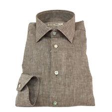 ICON LAB 1961 camisa hombre manga larga marrón oscuro flameado 100% lino