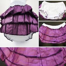 Girl Baby White Ruffled Pants Layered Diaper Cover Bloomers Purple Skirt 6M-3T