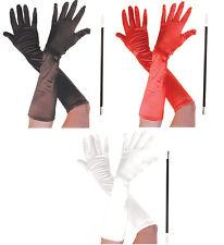 CRUELLA DE VILLE HALLOWEEN FANCY DRESS LONG GLOVES BLACK RED & CIGARETTE HOLDER