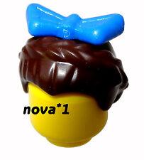 LEGO blu con fiocco Tiara Capelli Castani per Femmina Ragazza Principessa LEGO Minifigura NUOVO